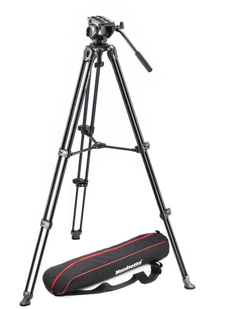 Lightweight Fluid Video Tripod System with Twin Legs / Middle Spreader