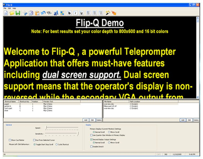 Teleprompter Reversing/Scrolling Software