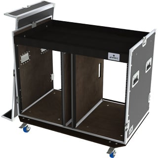 Grundorf Corp T8-COMBO-D16CB  Tour 8 Series Double 16RU Combo Case with Casters in Black T8-COMBO-D16CB