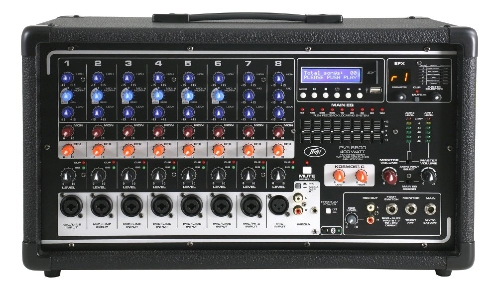 peavey pvi 8500 8 channel 400w powered mixer with ipod iphone dock full compass. Black Bedroom Furniture Sets. Home Design Ideas
