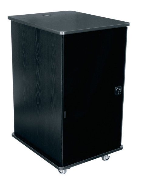"""20RU 27""""D Mobile Furniture Rack with Grained Ebony Ash Finish"""