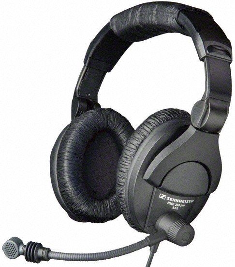 Headphones with Supercardioid Boom Microphone and Bare End Leads