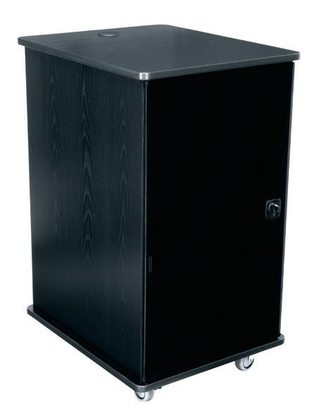 """16RU 27""""D Mobile Furniture Rack in Grained Ebony Ash Finish"""