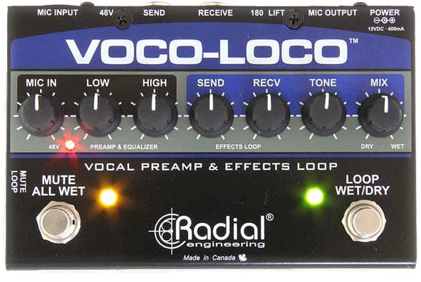 radial engineering voco loco microphone effects loop and switcher for guitar effects pedals. Black Bedroom Furniture Sets. Home Design Ideas
