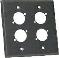 2-Gang Black Aluminum Wall Plate with 4 Holes for Neutrik D XLRs