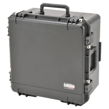 """22""""x22""""x12""""D Mil-Std. Watertight Case with Wheels, Pull Handle, Gray Dividers, Cubed Foam"""
