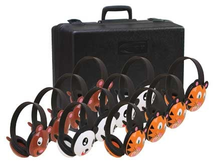 12 Pairs of Listening First™ Stereo Headphones with Case: 4 Sets of Bears, 4 Pandas, 4 Tigers