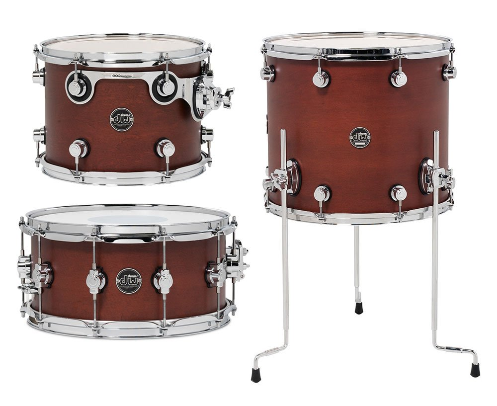 "DW DRPSTMPK03TB Performance Series HVX Tom/Snare Pack 3: 9""x12"", 14""x16"" Toms, 6.5""x14"" Snare Drum in Tobacco Stain DRPSTMPK03TB"
