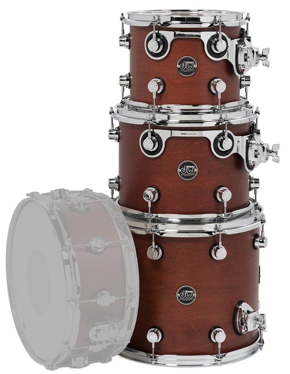 "Performance Series Tom Pack 3T: 10"", 12"", 14"" Toms in Tobacco Stain wihtout Snare Drum"