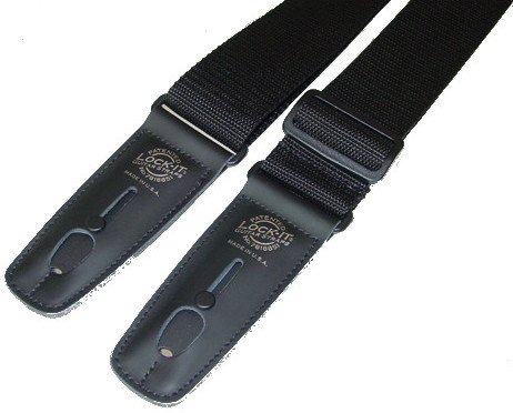 "2"" Black Polypro Guitar Strap with Black Locking Ends"