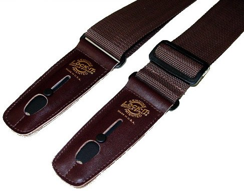"2"" Brown Polypro Guitar Strap with Brown Locking Ends"