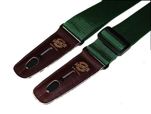 "2"" Dark Green Polypro Guitar Strap with Brown Locking Ends"