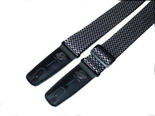 "2"" Silver and Black Checked Polypro Guitar Strap with Black Locking Ends"