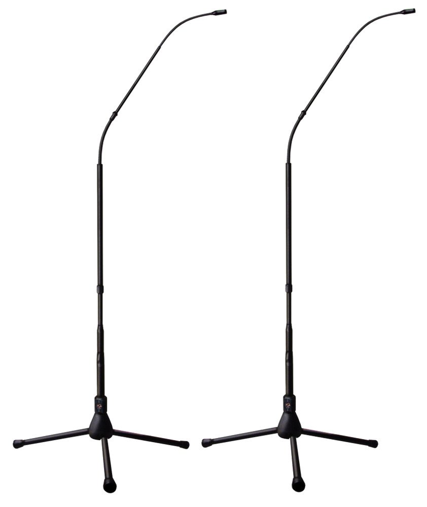 4.7ft Hypercardioid Matched Pair of FlexWand Microphones withTripod Bases