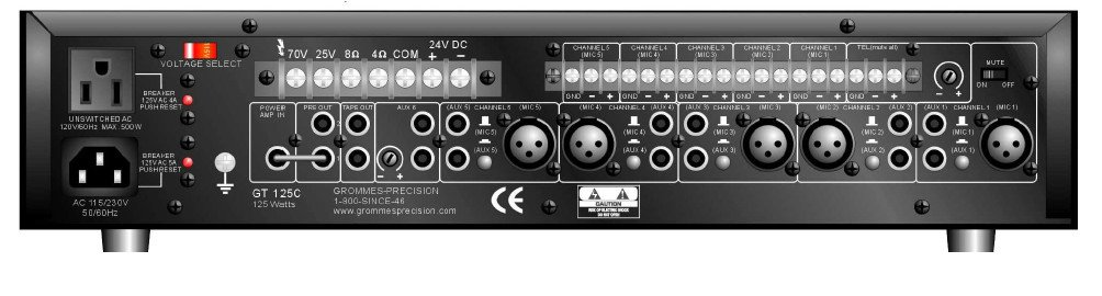 125-Watt 2 Rack Unit Mixer Amplifier
