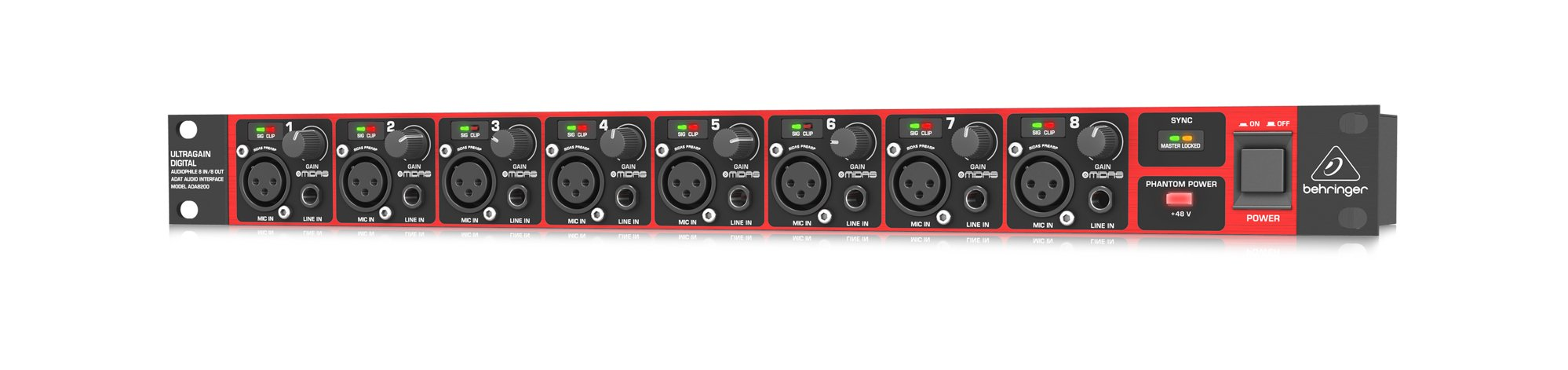 8x8 ADAT Audio Interface with Midas Preamplifiers