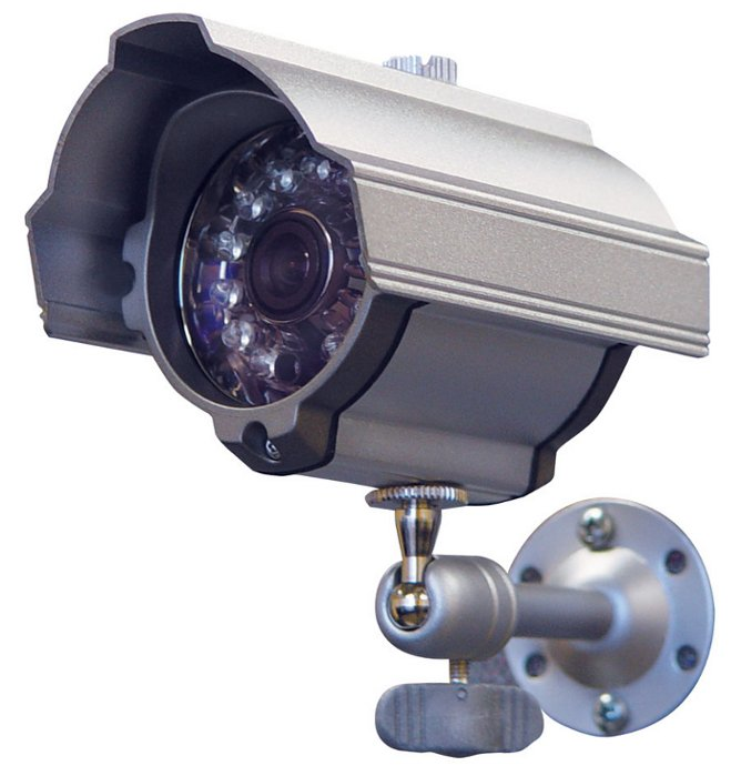 Weather Resistant Day-Night Color Security Camera with Built-In IR LEDS and 4.3mm Lens in a Silver Housing
