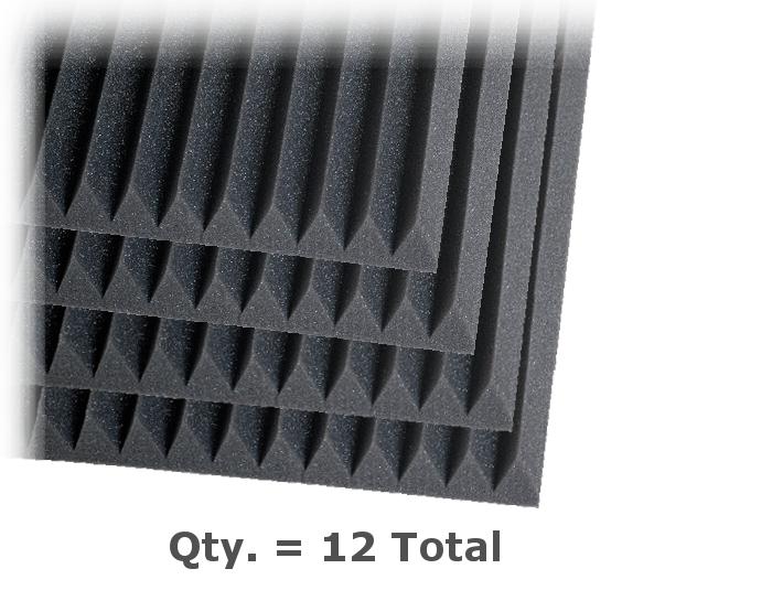 "2"" x 2 ft x 4 ft Studiofoam Wedge in Charcoal, Quantity 1"