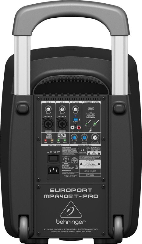behringer europort mpa40bt pro 40w portable pa with bluetooth and luggage style handle and. Black Bedroom Furniture Sets. Home Design Ideas