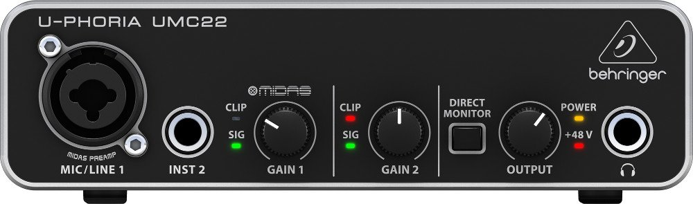2x2 USB Audio Interface with MIDAS Microphone Preamplifier