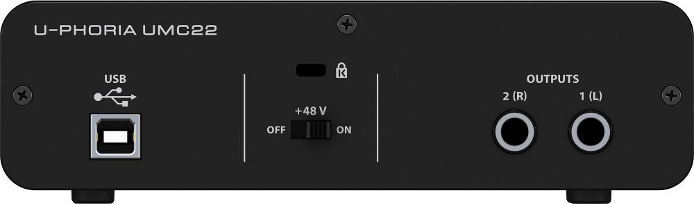 behringer umc22 2x2 usb 2 interface 28k midas preamp full compass systems. Black Bedroom Furniture Sets. Home Design Ideas