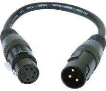 3-Pin XLR-M to 5-Pin XLR-F Turnaround Adapter