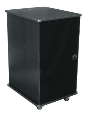 12-Space MFR Series Mobile Furniture Rack in Grained Ebony Ash
