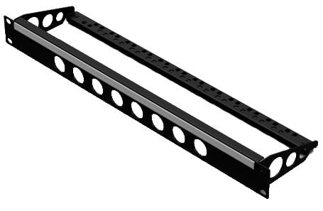 1U Rack Panel Punched for 8 D Series Connectors with Lacing Bar