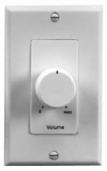 25W Volume Control Attenuator with Decora Wallplate in Almond