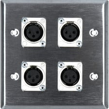 2-Gang Wall Plate with (4) 3-Pin XLRF Connectors