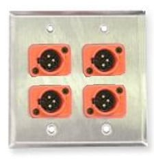 Single-gang Wall Plate with 2 Neutrik Screw Terminal XLRF Connectors