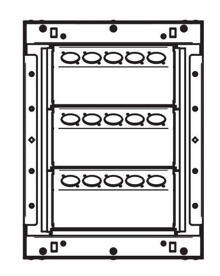"""9.38"""" x 12.38"""" Back Boxes with 3 Rows of 5 XLR Holes in Black Shown"""