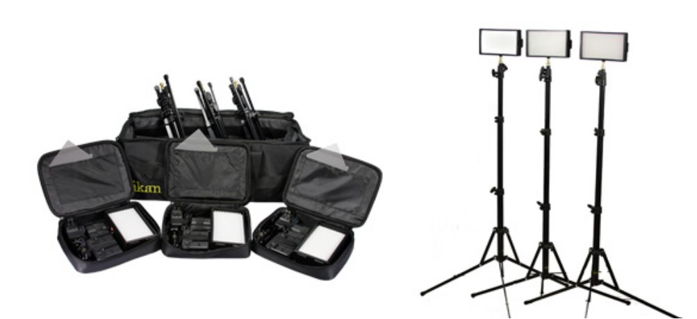 3-Point LED Light Kit with Bag and Stands