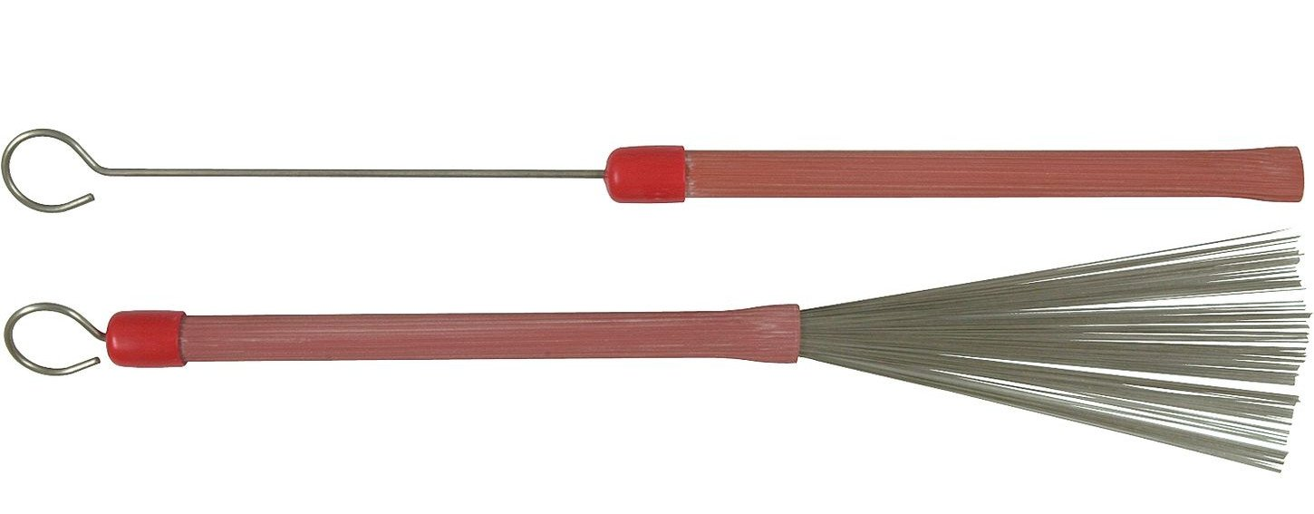 Groove Handled Wire Brushes in Red with Loop End