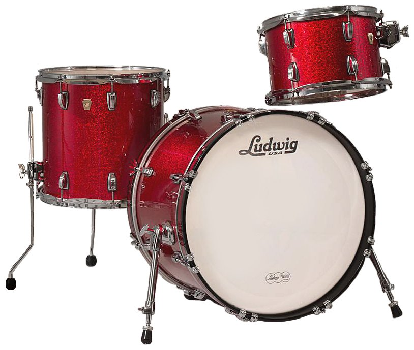 "Classic Maple Downbeat 3 Piece Shell Pack in Red Sparkle: 12"", 14"" Toms, 14""x20"" Bass Drum"