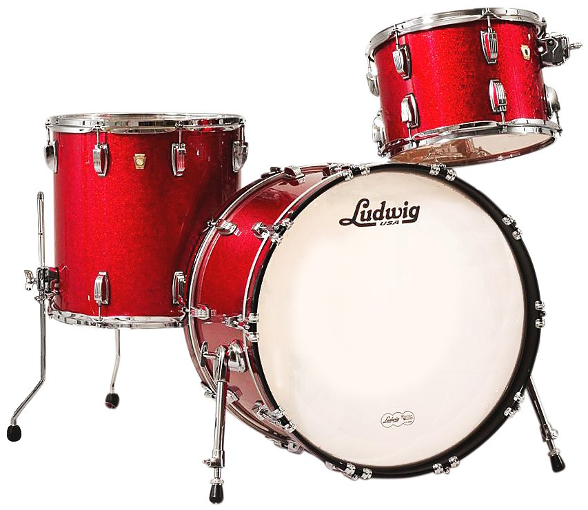 "Ludwig Drums L8323AX27WC Classic Maple Fab 22 3 Piece Shell Pack in Red Sparkle: 13"", 16"" Toms, 14""x22"" Bass Drum L8323AX27WC"