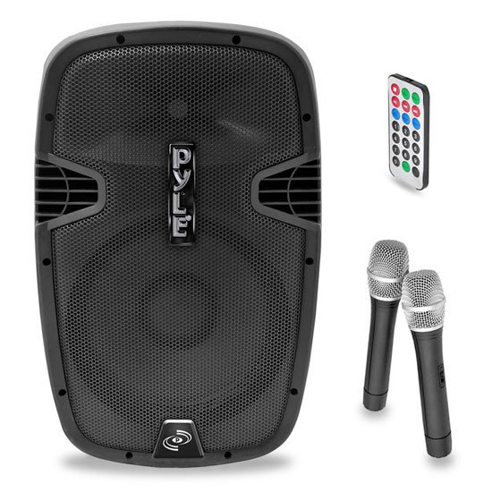 "1,600W 15"" Active 2-Way PA Speaker with Bluetooth & 2 Wireless Microphones"