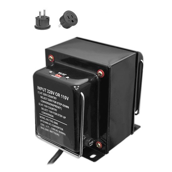2,000W Step Up & Step Down Converter Transformer with USB Charging Port