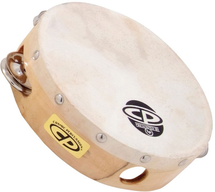 "6"" CP Wood Tambourine with Single Row of Jingles and Calfskin Head"
