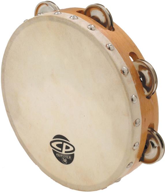 "8"" CP Wood Tambourine with Single Row of Jingles and Calfskin Head"