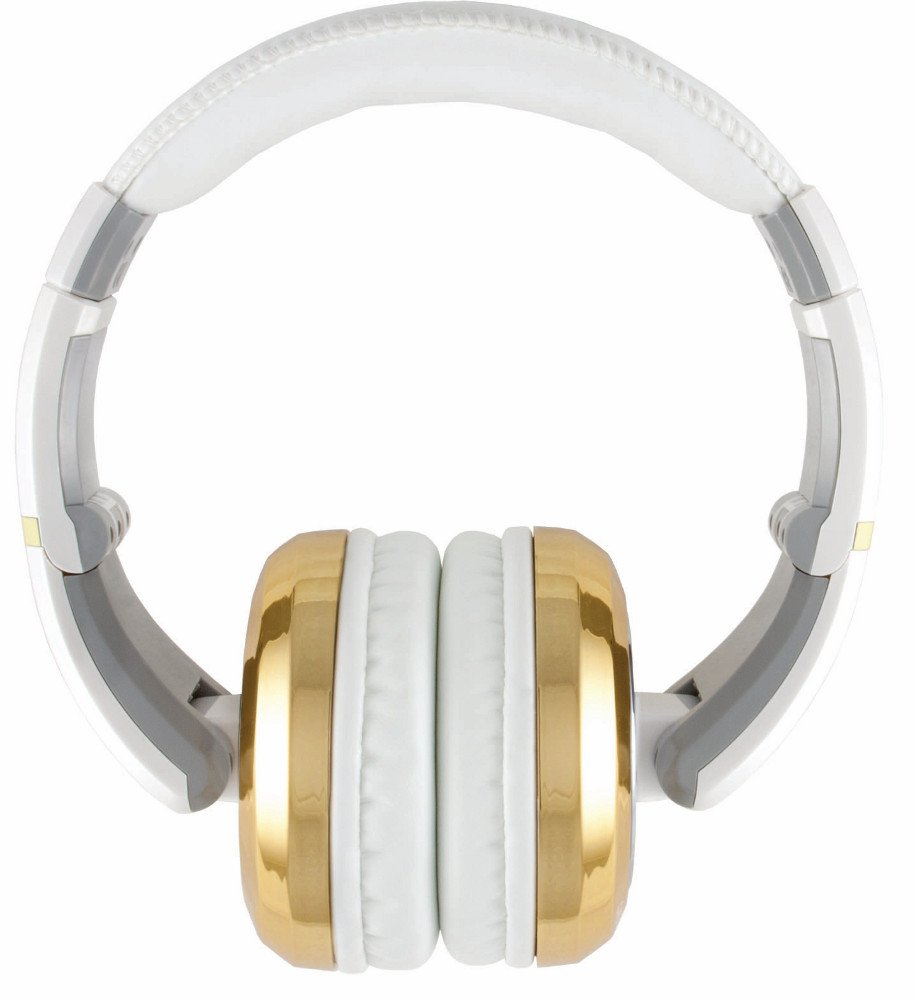 Stereo Headphones with Detachable Cable in White and Gold