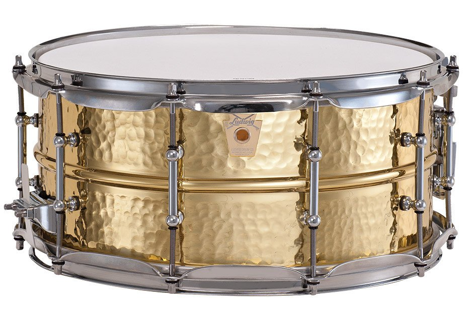 "6.5x14"" Hammered Brass Snare Drum with Chrome Hardware"