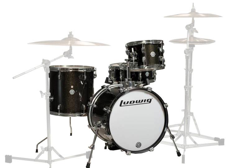 "4-Piece Shell Pack in Black: 14x16"" Bass Drum, 7x10"" Rack Tom, 13x13"" Floor Tom, 5x14"" Snare Drum"