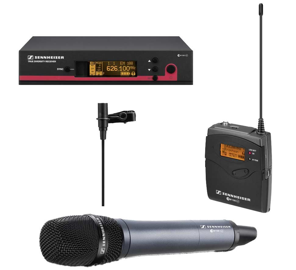Wireless Microphone System with Bodypack and Handheld Transmitters, ME 2 Lavalier Microphone and Rackmount Kit