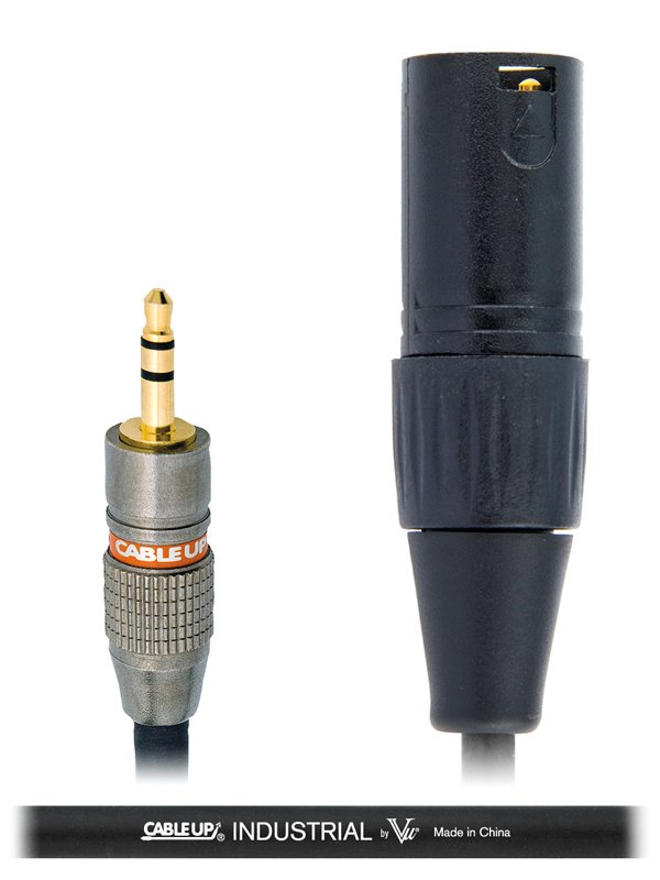 """5 ft 1/8"""" TRS Male to XLR Male Mono Cable with Black Jacket"""