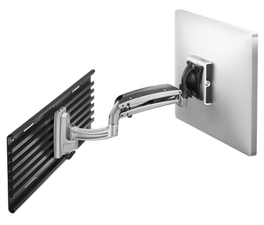 Kontour™ Single Monitor Dynamic Slat Wall Arm Mount with OFBLU Interface Bracket in Silver