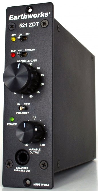 Earthworks 521 ZDT 500 Series Single-Channel Microphone Preamp 521-ZDT