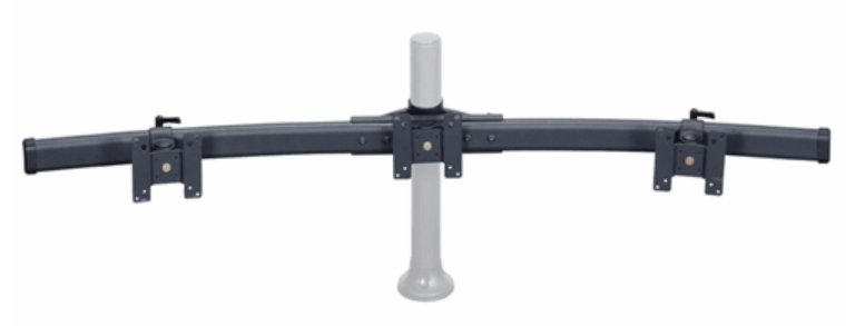 Premier Mounts MM-CB3  Triple Monitor Curved Bow Pole Mount for 10-24 inch Screens MM-CB3