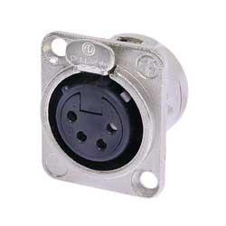 4-Pin Female XLR Panel Receptacle, Nickel