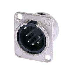 5-Pin XLR-M Panel Receptacle, Nickel Housing